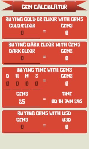 Android 🏰 Gem Calculator for Clash of Clans Screen 4