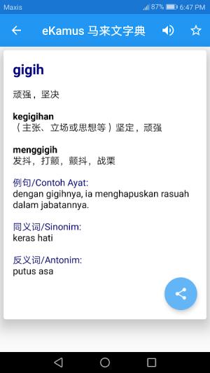 Malay Chinese Dictionary 马来文字典 eKamus 4.6 Screen 2