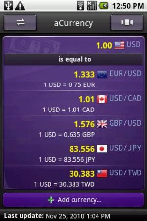 aCurrency Pro (exchange rate) 5.12 Screen 3