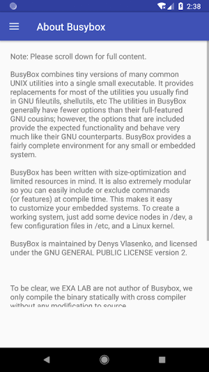 EXA Busybox Installer (no root) 2.00 Screen 2