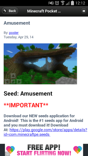 Seeds - Minecraft PE Revision 20051 Screen 2
