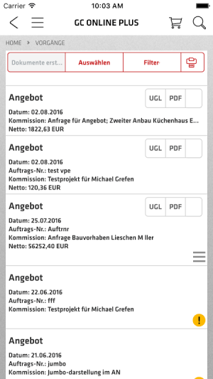 de.onlineplus.mobile.gc 4.0.0 Screen 2