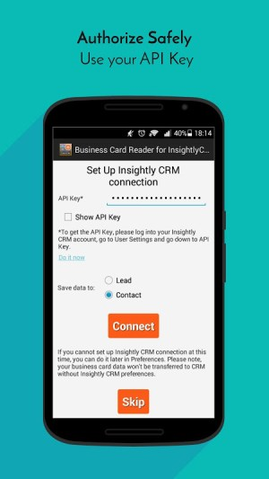 Business Card Reader for Insightly CRM 1.1.145c Screen 1