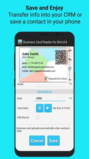 Android Bitrix24 CRM Business Card Reader Screen 7