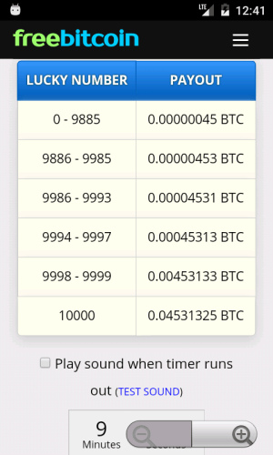 FreeBitCoin 1.0.2 Screen 2
