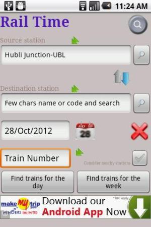 IndianRailway Offline TimeTabl 1.041 Screen 1