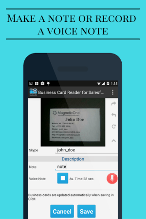 Android Business Card Scanner for Salesforce CRM Screen 5
