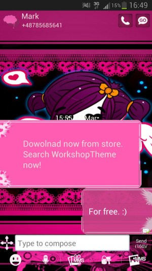 GO SMS Pro Theme Emo Pink 2.6 Screen 1