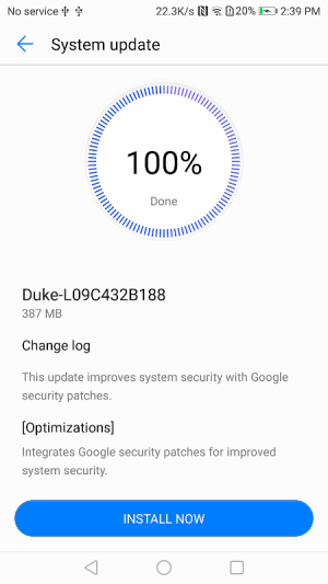 Android System update Screen 3