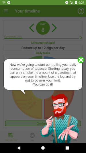 Stop Tobacco Mobile Trainer. Quit Smoking App Free 1.6 Screen 1