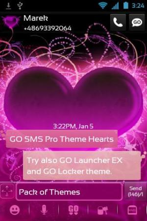 Android Theme Hearts for GO SMS Pro Screen 1