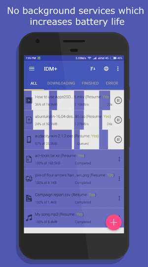 Android IDM+: Fastest Music, Video, Torrent Downloader Screen 2