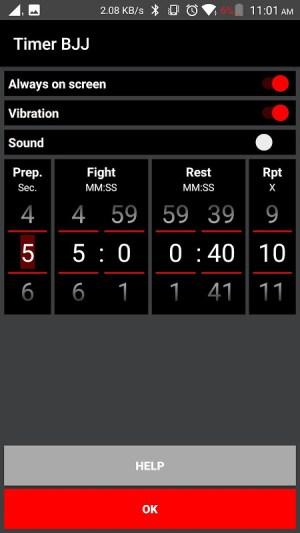 Timer BJJ 1.2 Screen 1