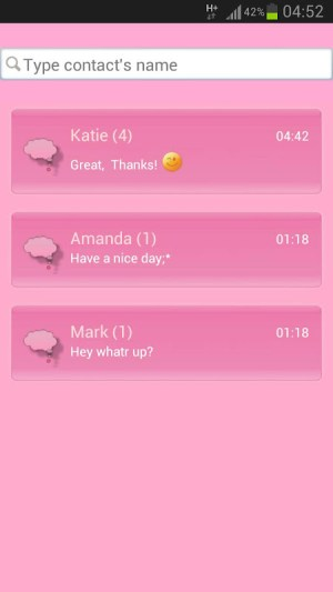 Android Cat Pink Theme GO SMS Pro Screen 2