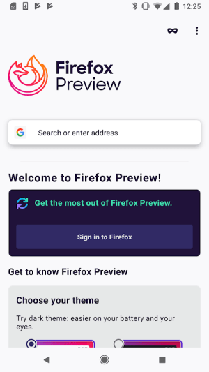 Firefox Preview Nightly for Developers Nightly 200218 18:00 Screen 1