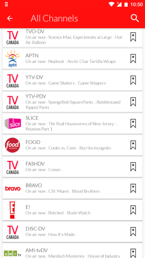 Android Canada Live TV Guide Screen 3