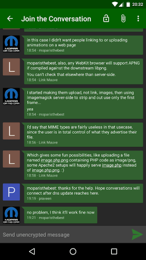 Conversations (Jabber / XMPP) 2.3.1+pcr Screen 4