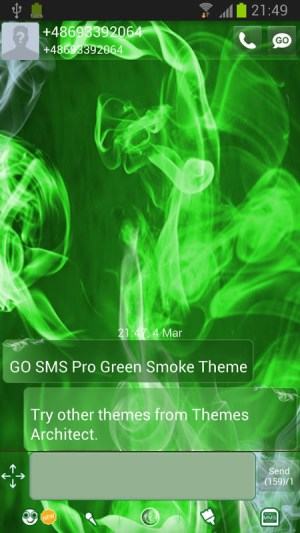 Android GO SMS Pro Green Smoke Theme Screen 1