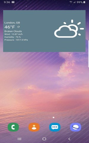 Android Free Weather Forecast Screen 4