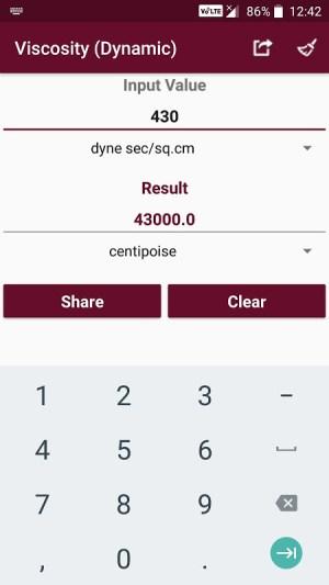 Android Fluid Mechanics Converter Screen 3