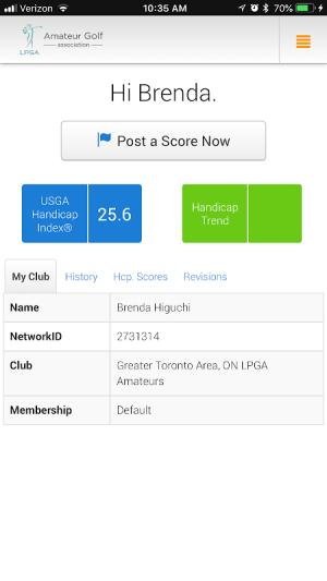 LPGA Amateurs Handicap Service 3.2.4 Screen 4