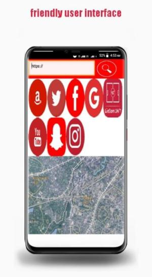 Android RedHat- Fast  search engine Web browser + Map Screen 1