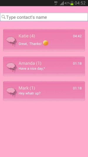 GO SMS Pro Theme Pink Cat 3.5 Screen 2