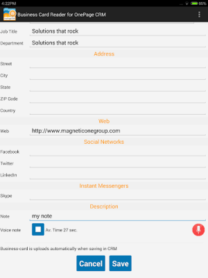 Business Card Reader for OnePage CRM 1.1.81c Screen 10