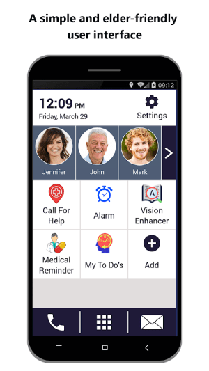 Senior Safety Phone - Big Icons Launcher 3.6 Screen 1