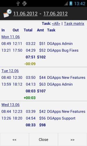 Time Recording - Timesheet App 5.02 Screen 1