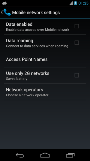 Android Mobile Network Settings Screen 1