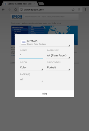 Epson Print Enabler 1.0.6 Screen 3