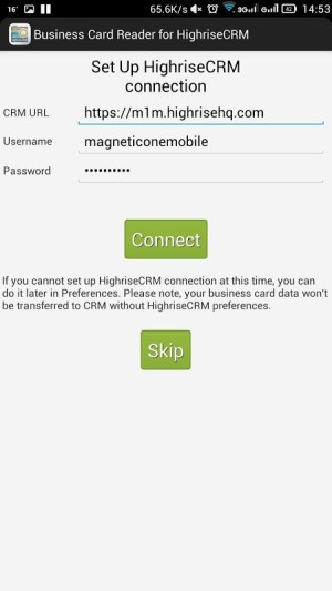Android Business Card Reader for Highrise CRM Screen 1