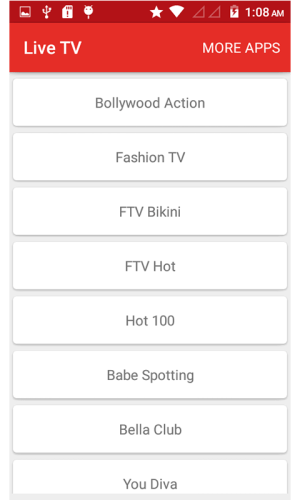 Android Live TV - Indian Channels Screen 1