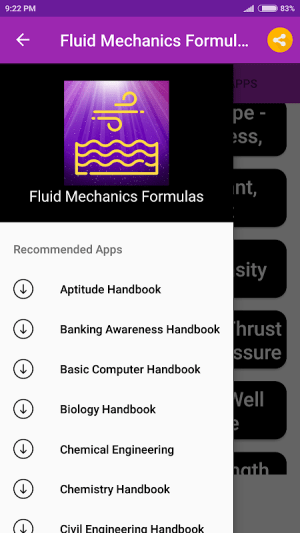 Android Fluid Mechanics Formulas Screen 3