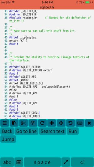 Mobile C ( C/C++ Compiler ) 2.2.5 Screen 2
