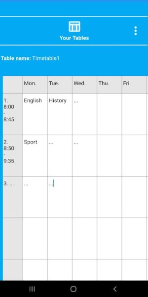 Android NewTimetableNotes - Notes in Tables + Timetable. Screen 15