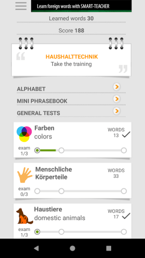 Android Learn German words with Smart-Teacher Screen 16
