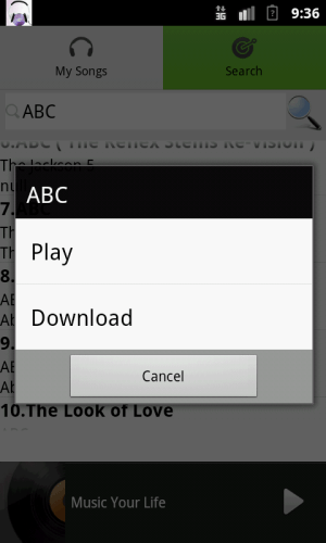 Android MP3 Downloader Simple Screen 1