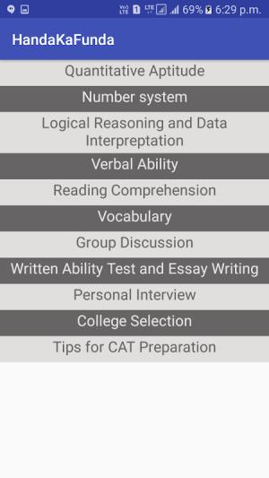 CAT MBA Exam Prep by Handa Ka Funda 1.4 Screen 1