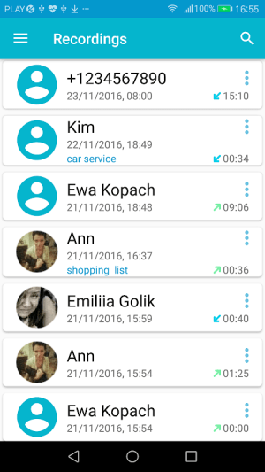 Android Call Recorder Screen 1