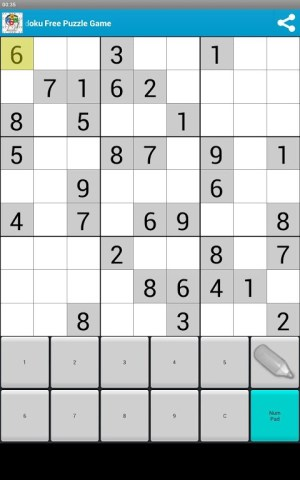 Android Sudoku Free Puzzle Game Screen 2