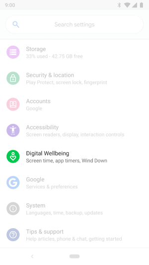 Digital Wellbeing 1.0.275243154.beta Screen 1