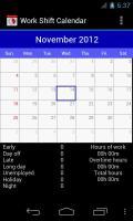 Work Shift Calendar Screen