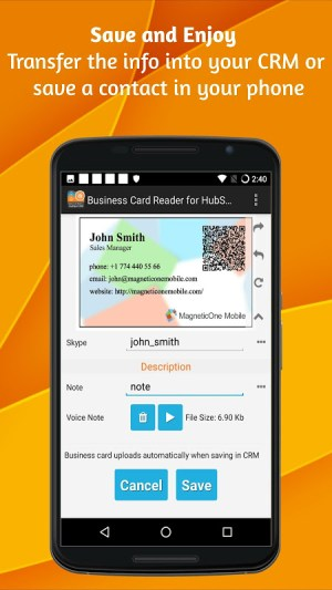Android Business Card Reader for HubSpot CRM Screen 7