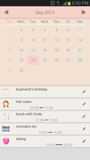 Android Women's Stamp Calendar/Diary Screen 1