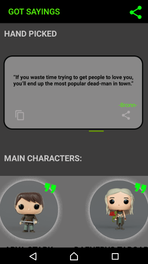 Android Best Quotes From Game of Thrones Screen 4
