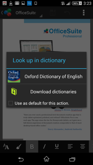 Android OfficeSuite Oxford Dictionary Screen 6