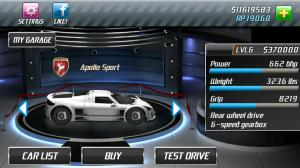 Android Drag Racing Screen 1