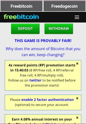 FreeBitcoin lite X2 1.0 Screen 4
